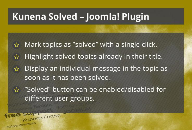 Kunena Solved - Joomla! Plugin