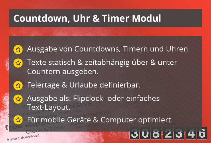 Power Countdown, Uhr & Timer – Joomla! Modul