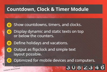 Power Countdown, Clock & Timer - Joomla! Module