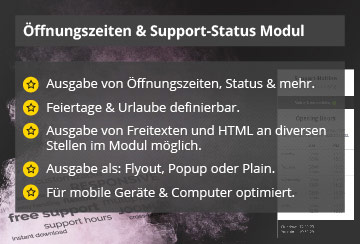 Power Support & Business Hours – Joomla! Modul