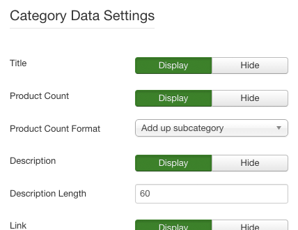 Display Settings Screenshot | Power Categories – Joomla! Module