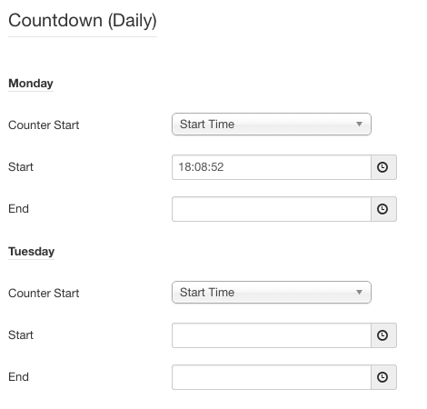 Screenshot: Daily Countdown Settings | Power Countdown, Clock & Timer – Joomla! Module