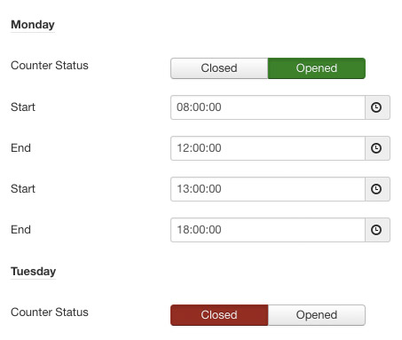 Screenshot: opening hours settings | Power Support & Business Hours – Joomla! Module