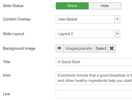 Screenshot: Slide settings | Power Slideshow – Joomla! module